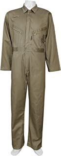 Highliving Mens Boiler Suit Overall Coverall Work wear Mechanics Student Cotton (Small) Khaki