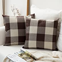 MIULEE Pack of 2 Classic Retro Checkers Plaids Cotton Linen Soft Solid Brown and White Decorative Throw Pillow Covers Home Decor Design Cushion Case for Sofa Bedroom Car 24 x 24 Inch 60 x 60 cm