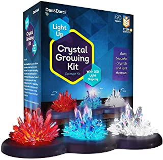 Crystal Growing Kit for Kids + LIGHT-UP Stand - Science Experiments for Kids - Crystal Science Kits - Craft Stuff Toys for Teens - STEM Projects for Boys & Girls - Grow Crystals and Make Them Glow