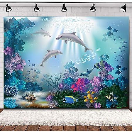 GoHeBe 7x5ft Backdrop Cute Dolphin Ocean World Photography Backdrop Photo Photography Background Props Studio Indoor Decorations LYXC244