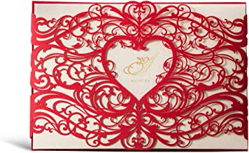 WISHMADE 「Sweet Heart」50 Red Laser Cut Printable Invitations Kit Card Stock with Heart Design, for Wedding Engagement Bridal Shower Baby Shower Birthday Festival Events Party