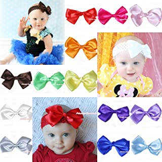 Kid Girl Grosgrain Soft Ribbon Solid Color Hair Bow Clip for Pettiskirt Headband