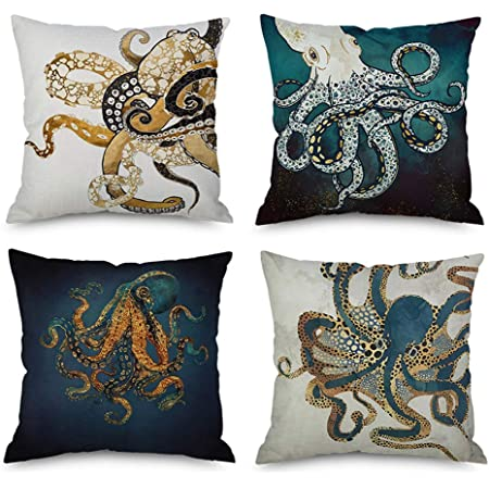 Amazon Com Antvinoler Vintage Newspaper Octopus Blue Pillows Case Soft Throw Pillow Double Sided Digital Printing Couch Pillowcase Square 45cm45cm Home Kitchen