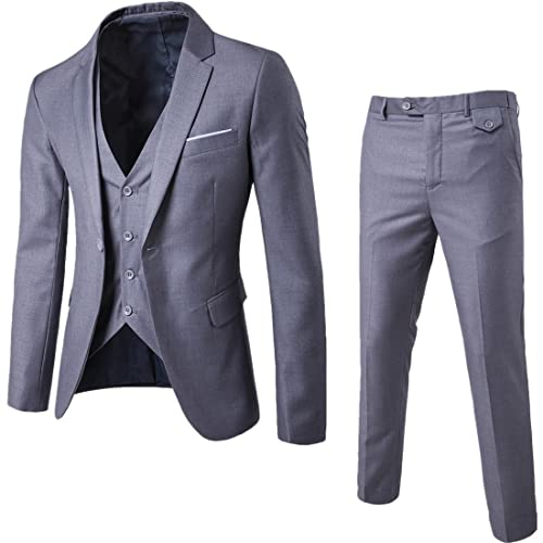 b0dd01f247d MAGE MALE Men s 3 Pieces Suit Elegant Solid One Button Slim Fit Single  Breasted Party Blazer