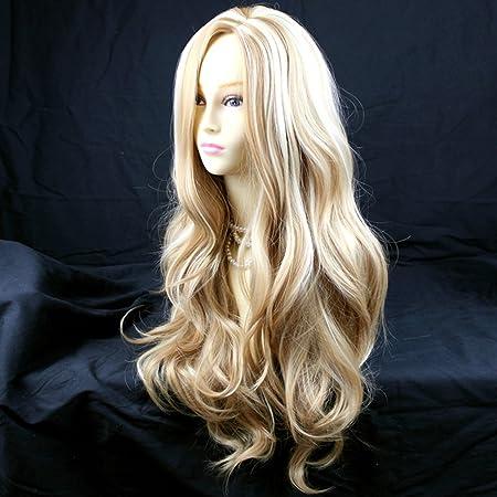 Fantastic Long Wavy Honey Blonde Mix Ladies Wigs Amazon De Beauty