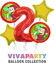 Curious George Balloon Bouquet 5 pc, 2nd Birthday, | Viva Party Balloon Collection