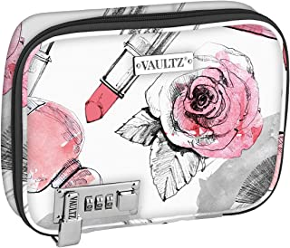 Vaultz VZ03811 Locking Everyday Soft Case, Makeup Case with Removable Pouches, Combination Lock, 8.5 x 6.5 x 2 Inches, Cosmetic Roses