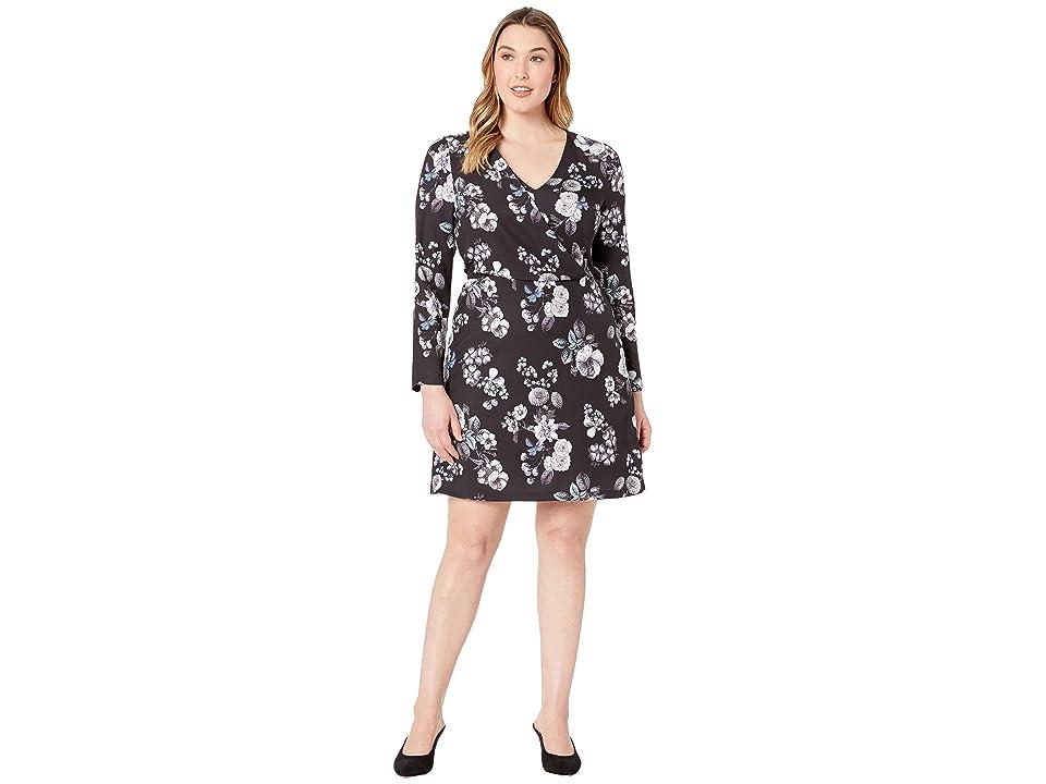 Adrianna Papell Etch Flora A-Line Dress (Black Multi) Women