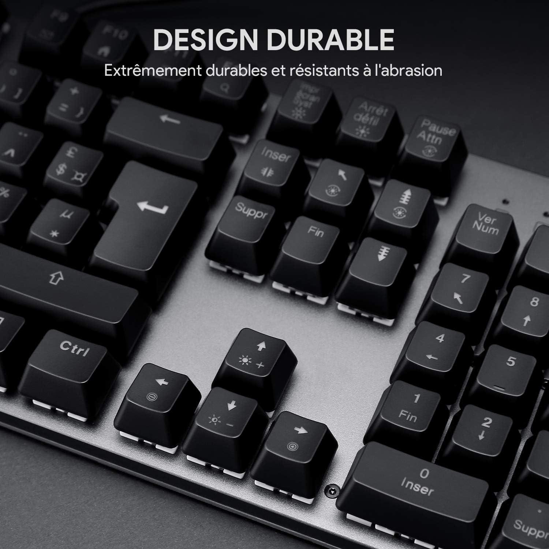 105 Tasten mit Surround-Beleuchtung Aukey Gaming-Tastatur mechanische Tastatur roter Switch AZERTY Franz/ösisch personalisierbar 100 /% Anti-Ghosting 105 Tasten RGB-Hintergrundbeleuchtung