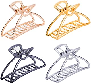 TANG SONG 4PCS Large Metal Hair Claw Clips Hair Catch Barrette Jaw Clamp for Women Half Bun Hairpins for Thick Hair(Silver...