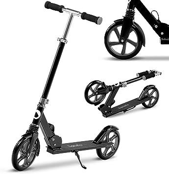LIONELO Luca Patinete Urbano XXL hasta 100 kg, Scooter para niños, Grandes Ruedas 200 mm ShockResist Amortiguador, Volante Ajustable Altura, Freno ...
