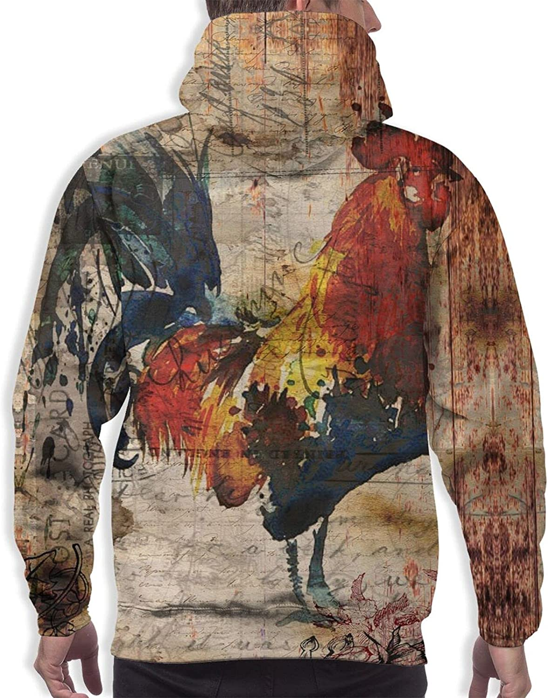 Hoodie For Men Women Unisex Vintage Rooster Newspaper Hoodies Outdoor Sports Sweater