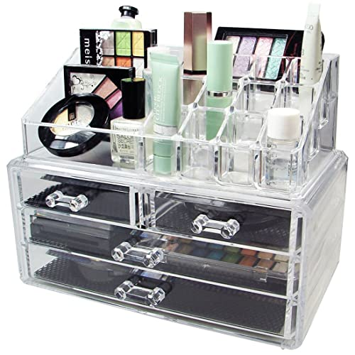 Dtes Stvin Acrylic Makeup Organizer Combo Set(3 Layered Drawer and 16 Pieces Lipstick Holder Organizer) - Multicolour, 9.4x7.5x5.9-inches