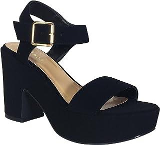 c7b6fa60e53 BAMBOO Women s Chunky Heel Platform Sandal with Quarter Strap
