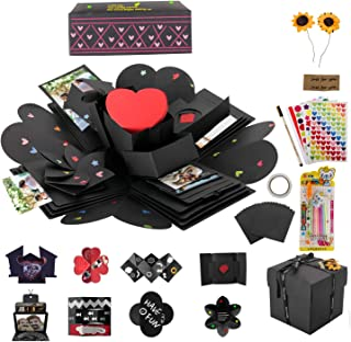 Explosion Box, POZEAN Explosion Gift Box DIY Photo Album Exploding Picture Box 4 Face for Birthday, Wedding, Engagement, V...