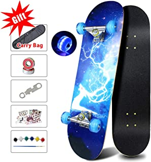 Easy_Way Complete Skateboards- Standard Skateboards with Colorful Flashing Wheels for Beginners Kids Boys Girls Teenager- 31''x 8''Canadian Maple Cruiser Pro Skate Board, Skateboards