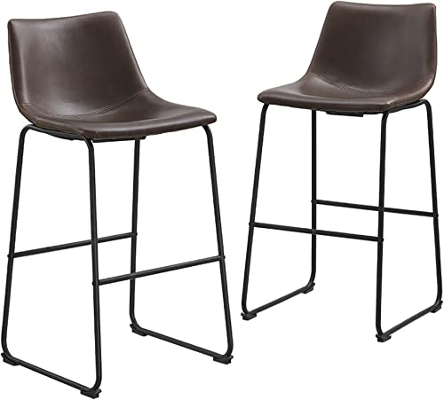 """Walker Edison Furniture Company 30"""" Industrial Faux Leather Armless Indoor Kitchen Dining Chair Barstool with Metal L..."""