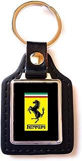 Print Corner Schlüsselanhänger Luxury Stahl/Kunstleder Ferrari Logo schwarz