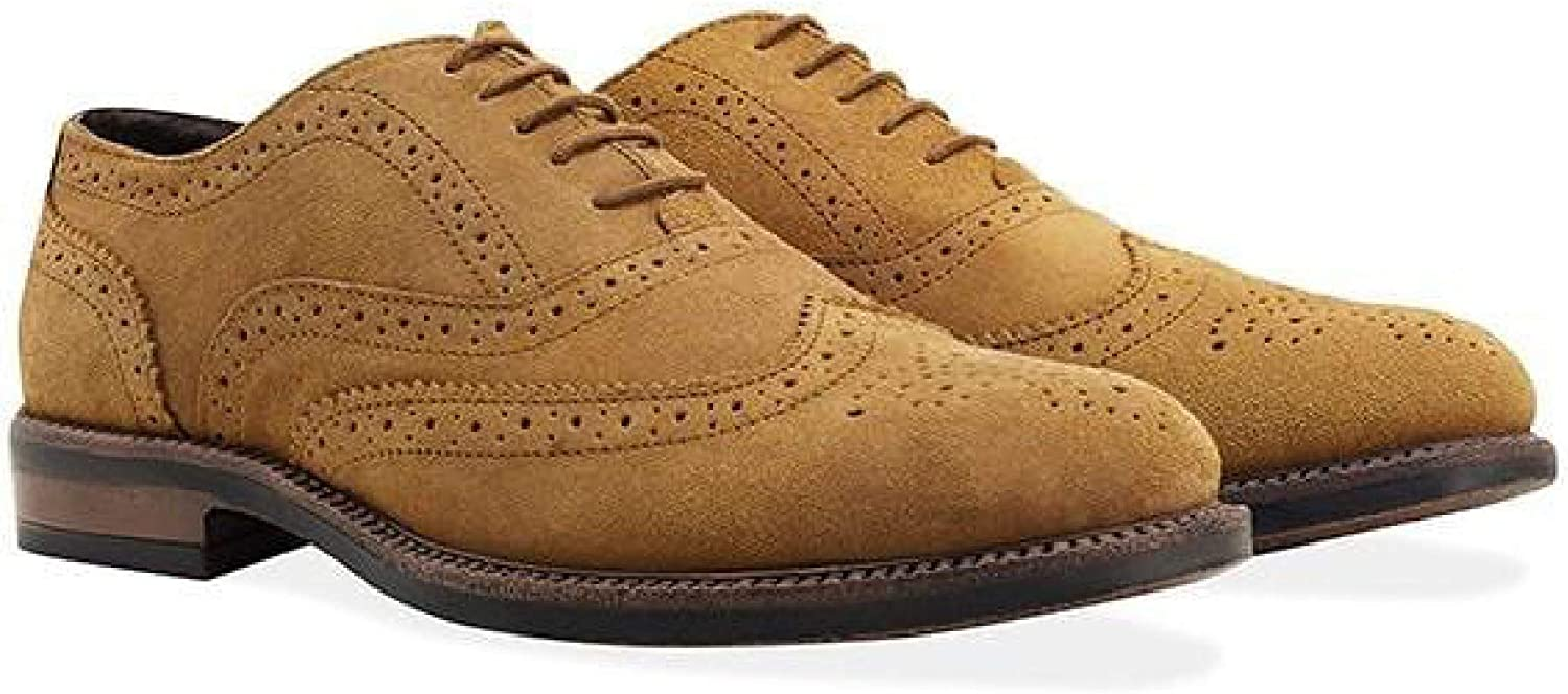 rougefoot Pour des hommes Tan Suede Water Resistant Brogue