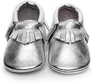 f8bf7a7db13be Backbuy Bébé Filles Chaussures en Cuir Souple Chaussures premiers pas  Chaussons A Franges 0-24