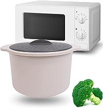 MovilCom® Faitout à Vapeur pour Riz, Cous Cous, Quinoa, Pâte À Riz, Marmite à Riz Cuiseur Vapeur Micro-Ondes Beige