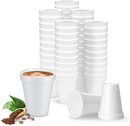 discount 8 Oz Disposable Styrofoam Cups (50 Pack), White Foam Cup Insulates Hot & Cold Beverages, Made in the USA, To-Go Cups - lowest for Coffee, Tea, Hot Cocoa, outlet sale Soup, Broth, Smoothie, Soda, Juice sale