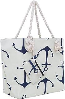 DonDon Große Strandtasche mit Reißverschluss 58 x 38 x 18 cm maritimes Design Anker beige blau Shopper Schultertasche Yacht Style