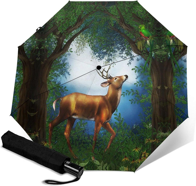 Ranking TOP12 Deer Forest Print Automatic Three-Folding Umbrella Over item handling ☆ Waterproof