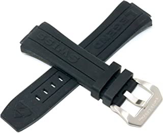 Swiss Legend 28MM Black Silicone Watch Strap Silver Stainless Buckle fits 44mm Trimix Diver Watch