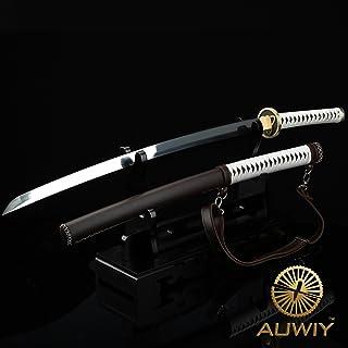 Auway Michonne Katana Sword, Walking Dead Samurai Sword with Wooden and Polyurethane Scabbard Fully Handmade Japanese Katana Sword 1060 High Carbon Steel