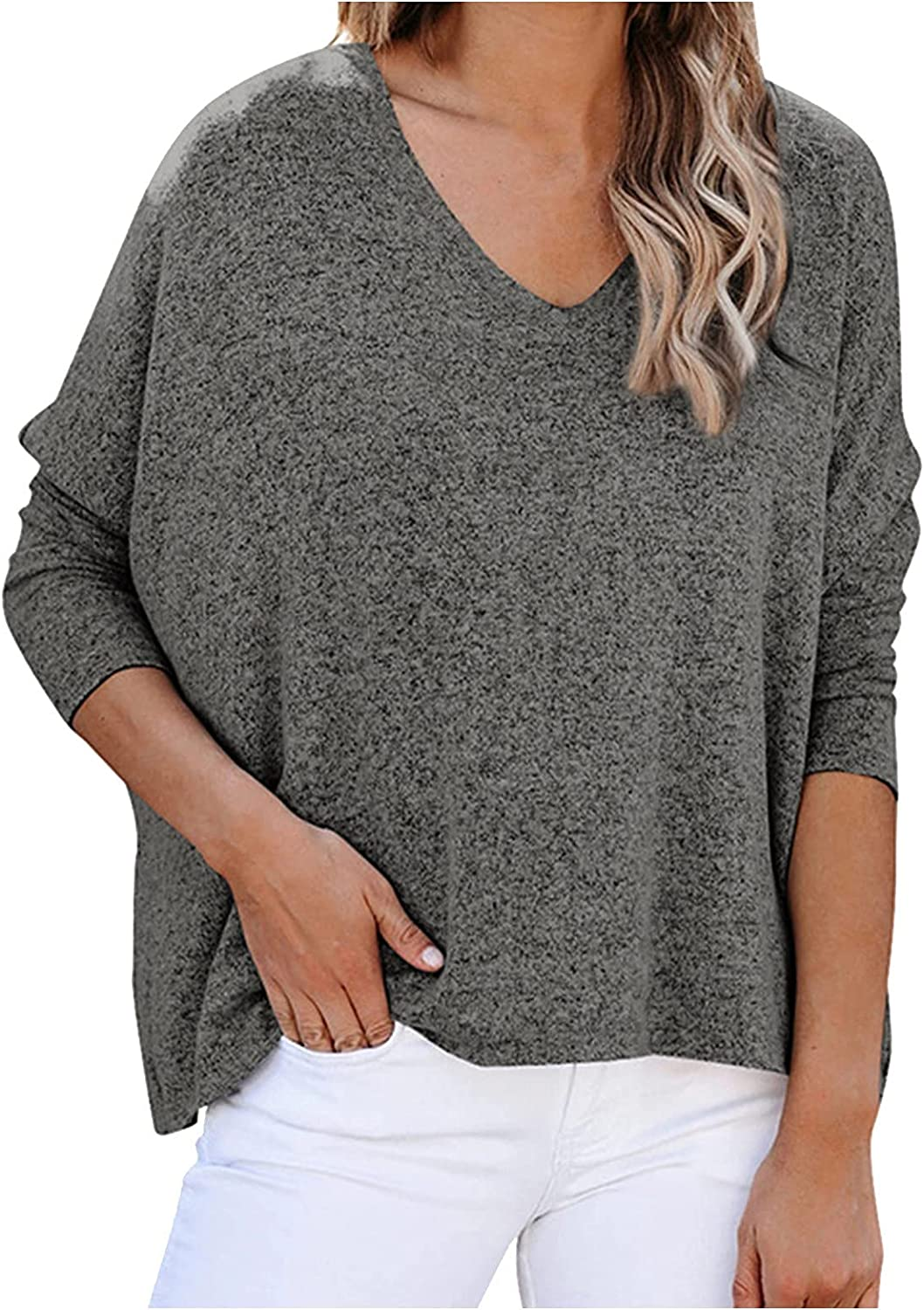 Mail order Women's V Neck Solid New Shipping Free Shipping Color T-Shirt B Batwing Loose Sleeve Casual