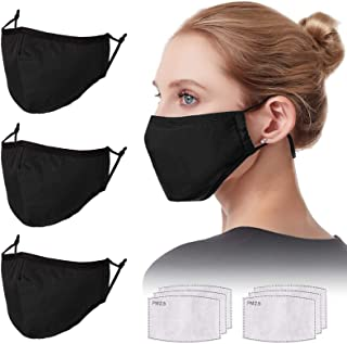 Adjustable Face Protector Cloth Mouth Shield Washable Reusable - Black Cotton 3 Layers Safety Shield Protection for Unisex Youth Adult Home Office Work Outdoors - 3 Pack, Black