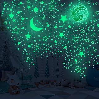 523Pcs Glow in The Dark Wall Decor Luminous Cyan Moon Stars Dot Starry Night Wall Stickers Set,Removable DIY Glowing Wall ...
