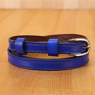 حزام معدني للنساء حزام معطف فستان نسائي إكسسوارات حزام جيد (طول الحزام: 100 سم، اللون: أزرق)