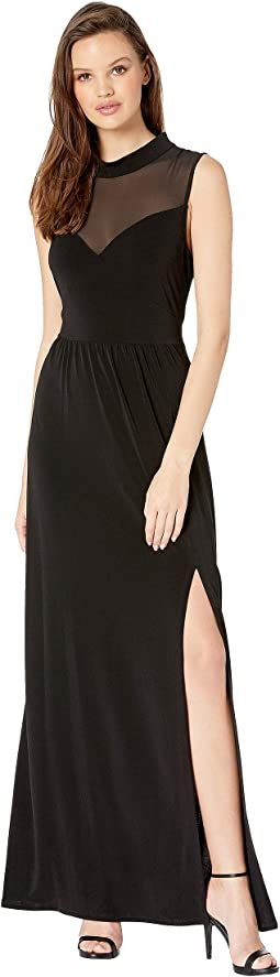 Contrast Yoke Maxi Dress