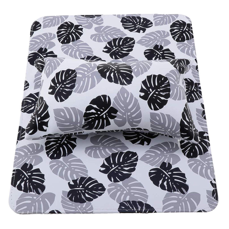 グリットウルルシンボルPerfeclan ネイルアートハンドピロー ハンドピローパッド ネイルアートクッション 可能な洗える 折りたたみ式 全3色 - ブラック