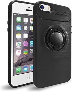 NEW'C Funda con Soporte Anillo para iPhone 5/5S/SE, Funda Protectora absorción de Impactos y Fibra de Carbono [Gel Flex Silicone]