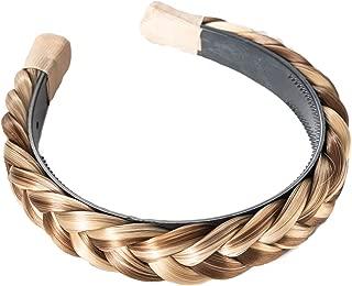 Madison Braids Women's Hard Headband Hair Braid Natural Looking Synthetic Hair Piece - Lulu - Highlighted