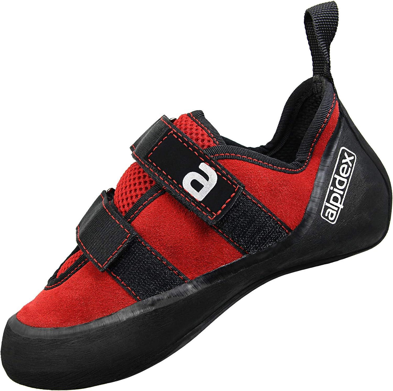 ALPIDEX Kletterschuhe Leder mit Klettverschluss, gute Kantenstabilität, leichter Downturn, leichte Vorspannung, erhältlich in den Größen 36-49  | Schöne Kunst