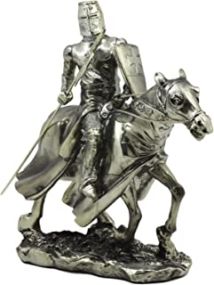 Ebros Medieval Suit of Armor Knight with Poleaxe On Cavalry Horse Statue 9
