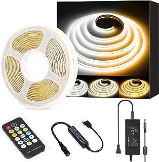 COB LED Strip Lights White CCT Tunable,PAUTIX 16.4ft Dimmable 2700K-6500K 24V LED Tape Lights Kit CRI90+ UL-Listed Power S...