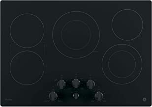 GE PP7030DJBB 30 Inch Electric Cooktop with 5 Radiant, Bridge SyncBurners, 9/6 Inch Power Boil Element, Keep Warm Setting, Red LED Backlit Knobs, ADA Compliant Fits Guarantee