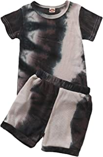 مجموعة ملابس صيفية للأطفال الأولاد والبنات تي شيرت قصير الأكمام + شورت وسروال 2 قطعة مجموعة ملابس سوداء