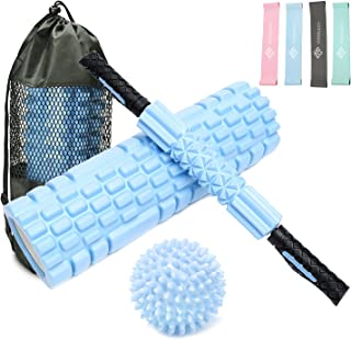 AUSELECT Yoga Roller 45cm Foam Roller 5IN1 with Hollow Core Massage Roller, Muscle Roller Stick, Spikey Plantar Fasciitis ...