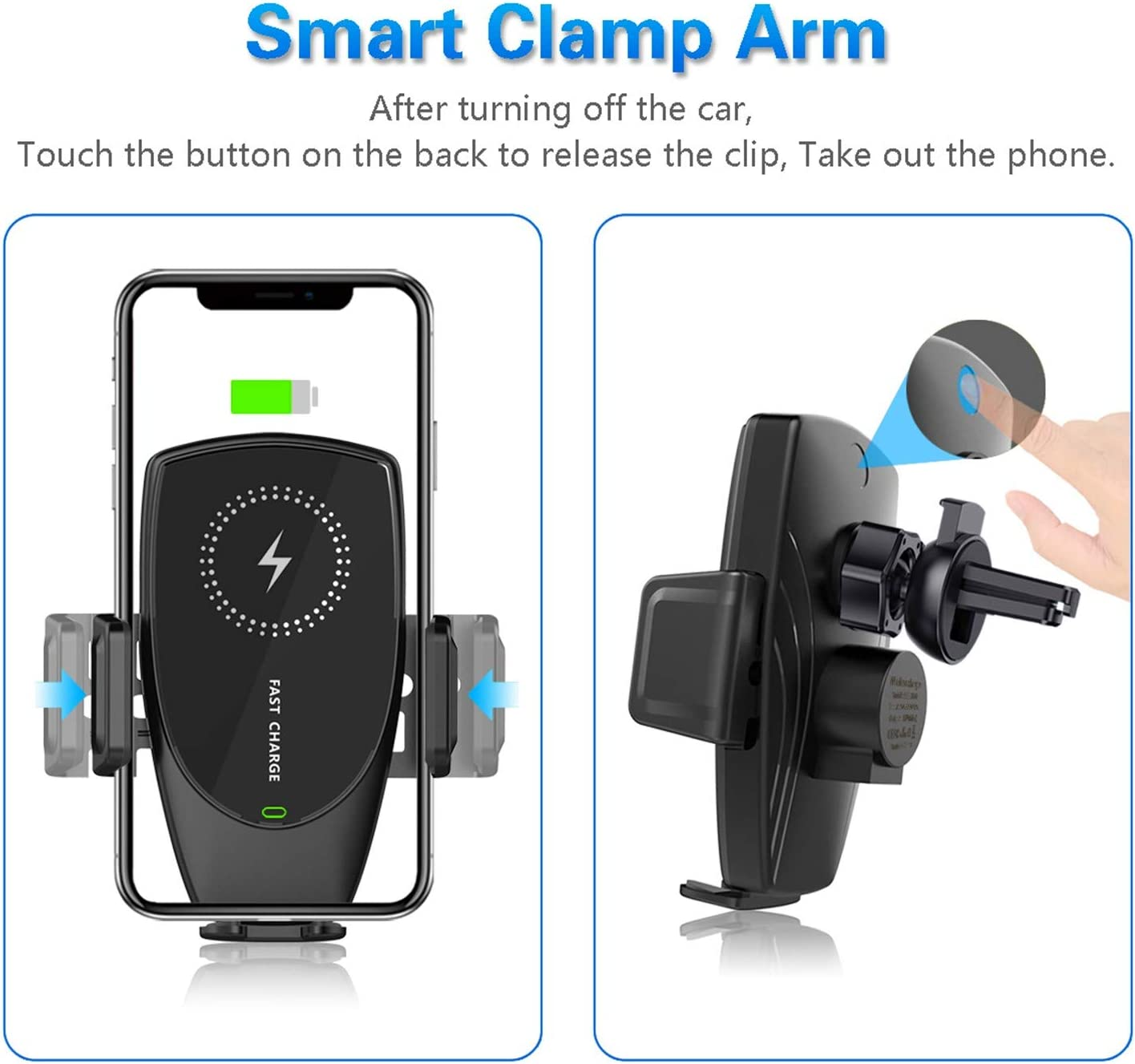 Car Charger Holder 10W Fast Charging for iPhone Xs Max//XR//X//8//8Plus Samsung S10//S9//S8//Note 8-Silver KMI CHOU E5 Car Accessory,Automatic Clamping IR Intelligent Wireless Car Charger