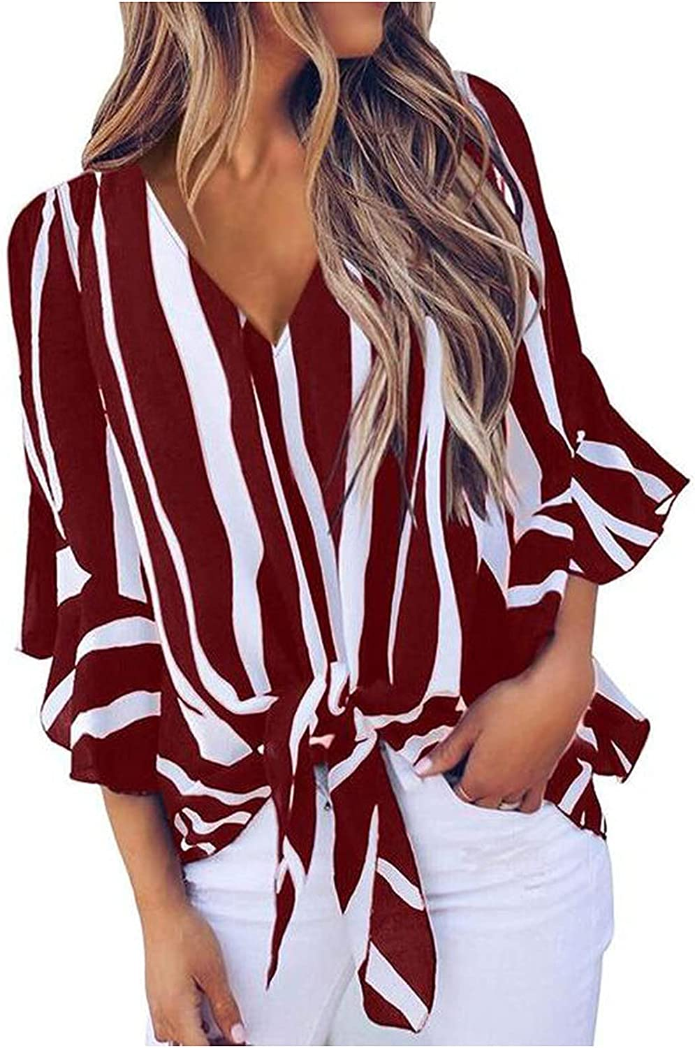 Striped Knotted T-Shirts for Women Comfy Workout Tops Elegant Chiffon Shirts Casual 3/4 Sleeve Tees V-Neck Summer Blouse