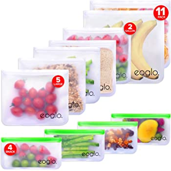 eoglo Food Grade Reusable Storage Bags (11 Pack)   2 Xlarge Gallon Size + 5 Large Sandwich Size + 4 Snack Size  Freezer Safe   Extra Thick   Plastic & Silicone Free  LeakProof