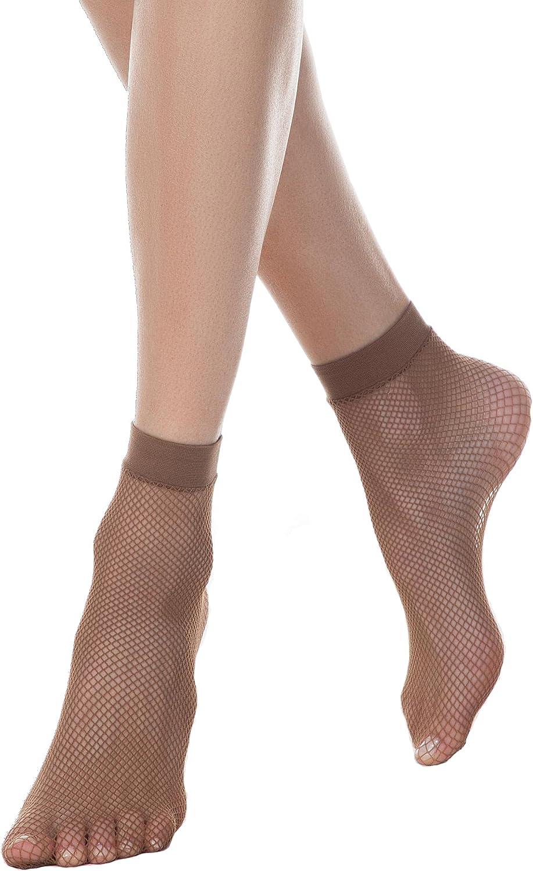 Conte Women's Fishnet Lace Sheer Ankle Dress Socks Rette Medium Mesh