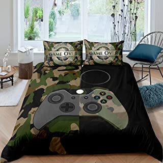 Gamer Bedding Set Teens Boys Camouflage Gamepad Printed Comforter Cover Army Green Video Games Decor Player Gaming Duvet C...