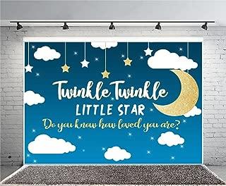 Leyiyi 7x5ft Photography Background Happy Birthday Backdrop Banner Twinkle Twinkle Little Star Glittering Character Moon Cloud Night Sky Wallpaper Baby Shower Photo Portrait Vinyl Studio Video Prop